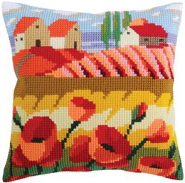 Collection D'Art Poppy Field I Cross Stitch Cushion Kit - 40cm x 40cm