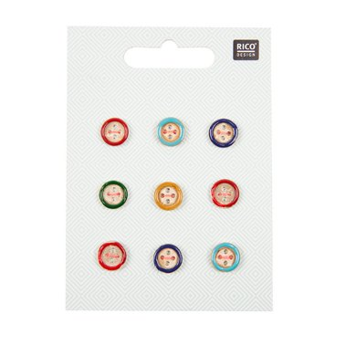 Rico Wooden Button Mix With Colorful Edge