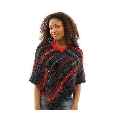 Mix-and-Match Poncho in Lion Brand Wool-Ease Chunky - 40508