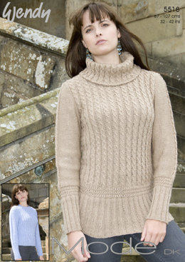 Cabled Sweaters in Wendy Mode Dk - 5518