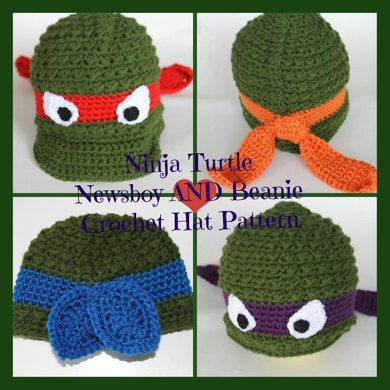 Ninja Turtle Newsboy AND Beanie Hat Crochet pattern by Stay@Home ...