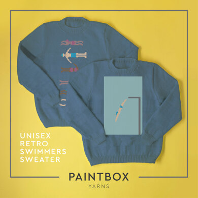 Unisex Retro Swimmers Sweater - Free Sweater Knitting Pattern For Adults in Paintbox Yarns Cotton Aran by Paintbox Yarns