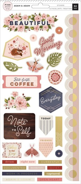"American Crafts Again & Again Cardstock Stickers 5.5""X12"" 64/Pkg - Accents & Phrases W/Gold Foil Accents"