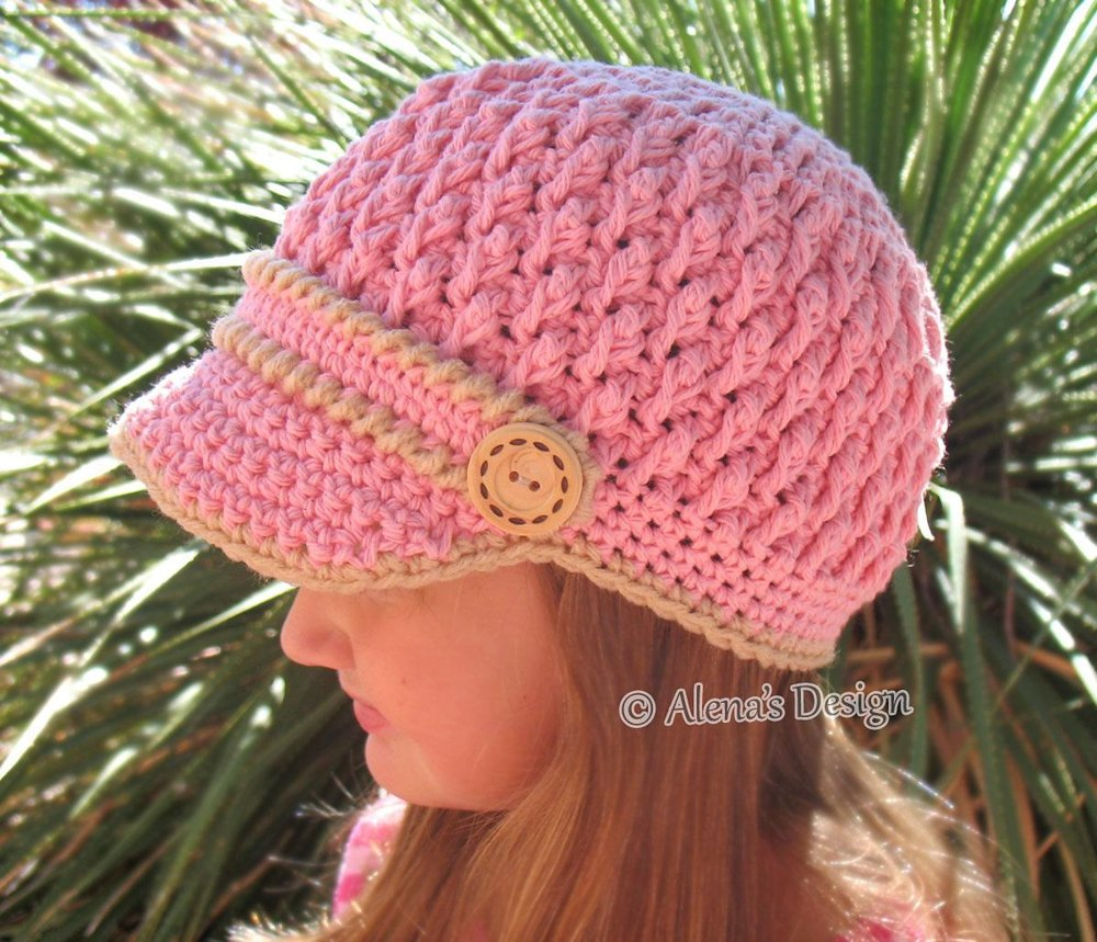 Two Button Visor Hat Child Adult Crochet Pattern By Alena Byers