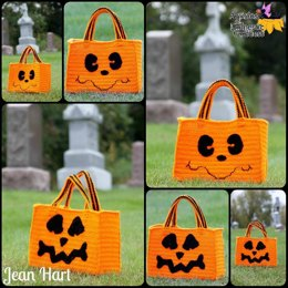 Ghost/Pumpkin Halloween Candy Hauler Tote with Mix and Match Face Options