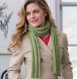 Thick Ribbed Beginner Scarf in Red Heart With Love Solids - LW4128