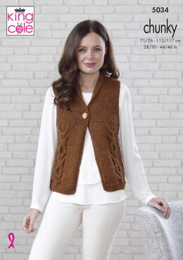 Waistcoat & Slipover in King Cole Magnum Chunky - 5034 - Downloadable PDF