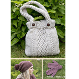 Knitted Handbag, Hat & Mitts in Twilleys Freedom Alfresco Aran - 9211