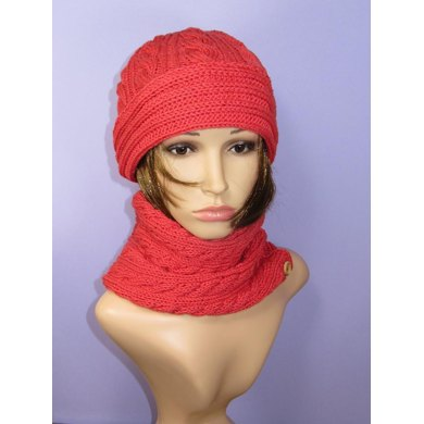 Sideways Cable Cowl and Cable Beanie Hat Set