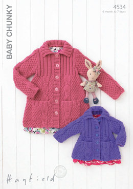 Babies and Girls Cardigans in Hayfield Baby Chunky - 4534