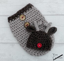 Christmas Reindeer Hat and Cocoon Set