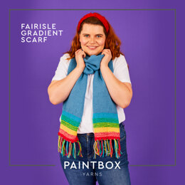 Fairisle Gradient Scarf - Free Scarf Knitting Pattern For Adults in Paintbox Yarns 100% Wool Worsted by Paintbox Yarns