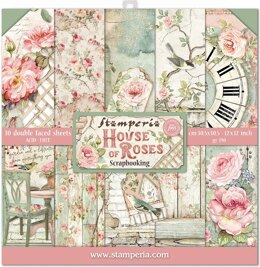 """Stamperia Intl Stamperia Double-Sided Paper Pad 12""""X12"""" 10/Pkg - House Of Roses, 10 Designs/1 Each"""