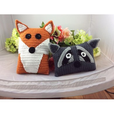Raccoon And Red Fox Pillow Pals Crochet Pattern By Lisa Kingsley