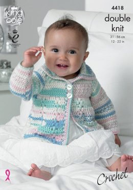 Crochet Coat and Blanket in King Cole Cherish DK and Cherished DK - 4418 - Leaflet