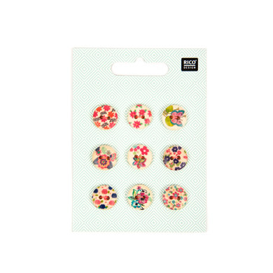 Rico Wooden Button Floral Mix