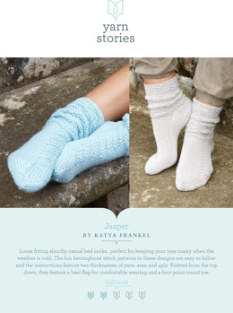 Jasper Socks in Yarn Stories Fine Merino 4 ply and Fine Merino and Baby Alpaca Aran - Downloadable PDF