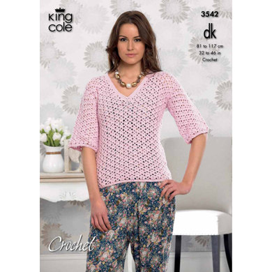 Crochet Ladies Cardigan and V-Necked Top in King Cole Cottonsoft DK - 3542