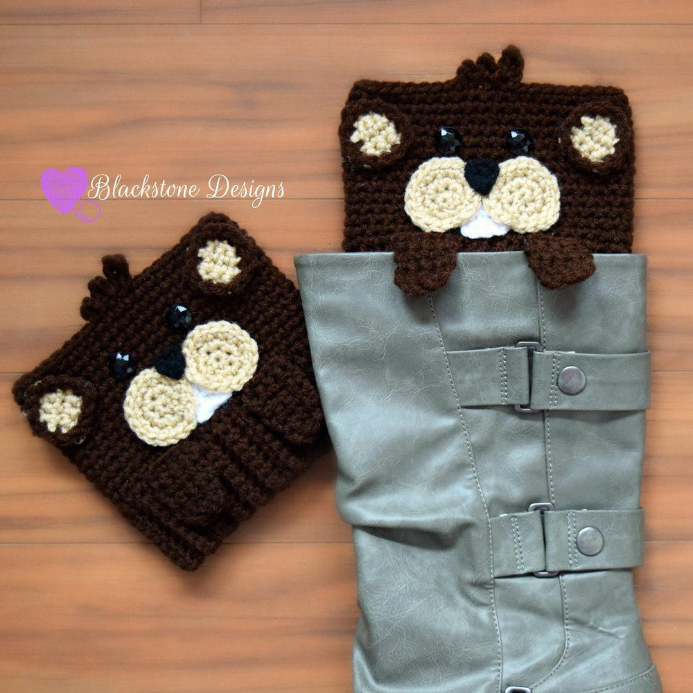 Peeping Groundhog Boot Cuffs Crochet Pattern By Sonya Blackstone