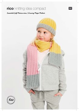 Hat and Scarf in Rico Essentials Soft Merino Aran and Luxury Magic Mohair - 622 - Downloadable PDF