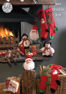 Snowman, Santa Head, Rudolf and Christmas Stockings in King Cole DK - 8002 - Downloadable PDF