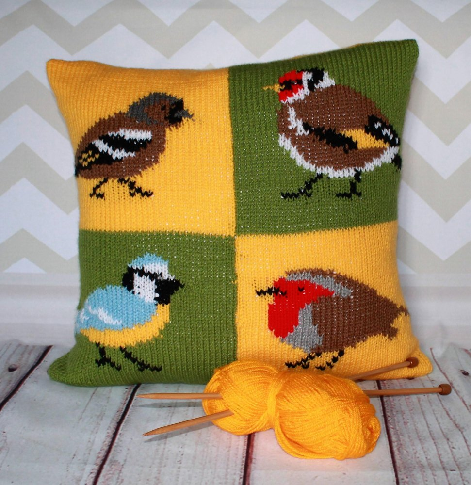 Garden birds cushion cover knitting pattern by ruby and the foxes garden birds cushion cover zoom bankloansurffo Images