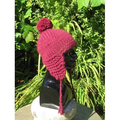 Superchunky Peruvian Bobble Trapper Hat Knitting Pattern By