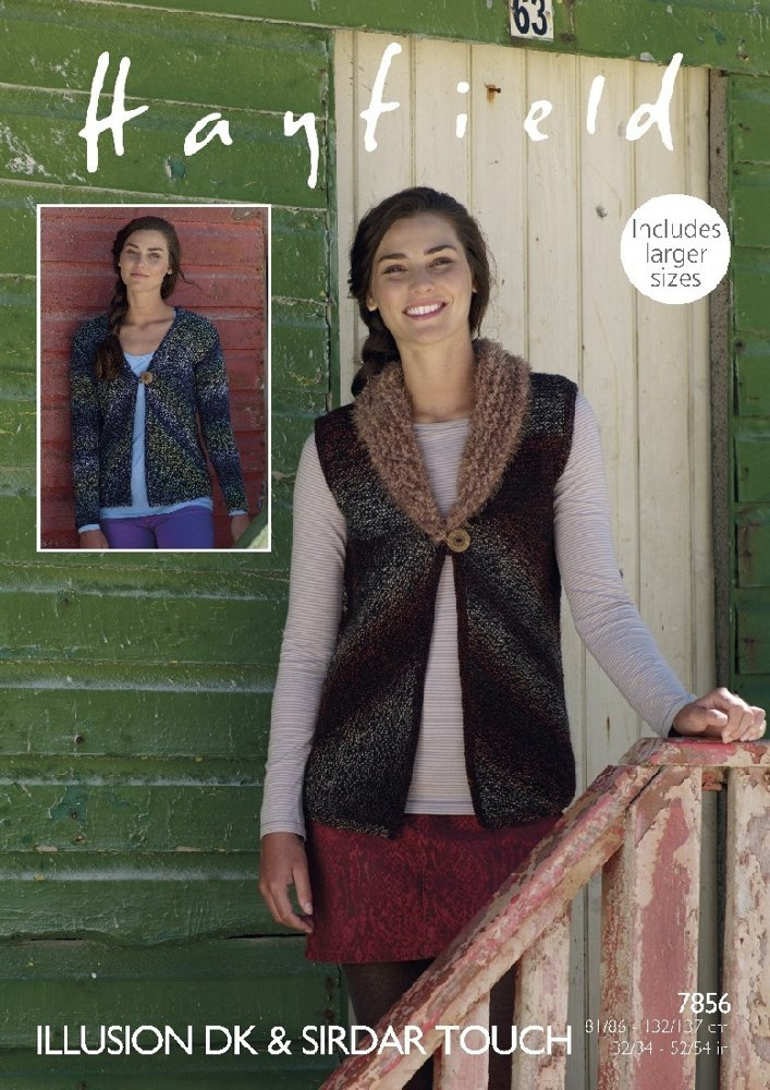 Waistcoat and Cardigan in Hayfield Illusion DK & Sirdar Touch - 7856 ...