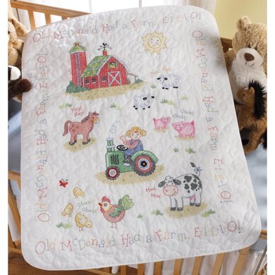 BucillaOn the Farm Stamped Cross Stitch Crib Cover Kit - 34in x 43in