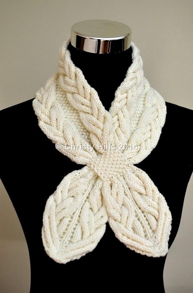 Milky White Cables Scarf Knitting pattern by Christy Hills