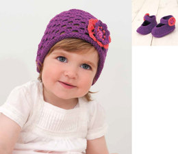 Hat and Ballerinas Bootees in Rico Baby Cotton Soft DK - 168