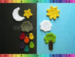Sun Moon Star Cloud Raindrop Tree Applique Pattern
