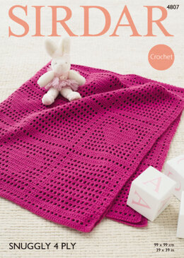 Blanket in Sirdar Snuggly 4 Ply 50g - 4807 - Downloadable PDF