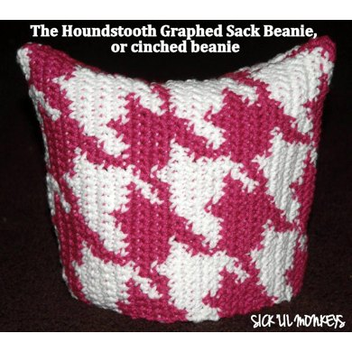 Houndstooth Knitting Pattern In The Round : Sack Beanie - Houndstooth Print Crochet pattern by SICK LIL MONKEYS Kn...
