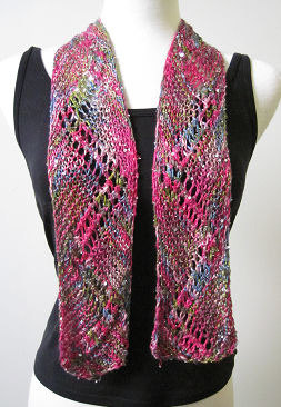 Eyelet Zigzag Scarf in Artyarns Beaded Silk and Sequins Light - P133