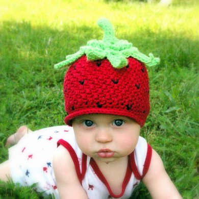 Crochet pattern strawberry beanie hat with peek-a-boo brim