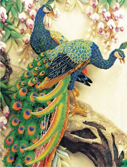 Needleart World Peacock Majesty No-Count Cross Stitch Kit - 64cm x 105cm