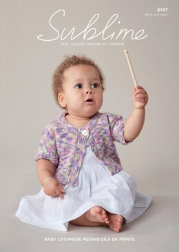 Baby Girl's Cardigan in Sublime Baby Cashmere Merino Silk DK Prints- 6147 - Downloadable PDF