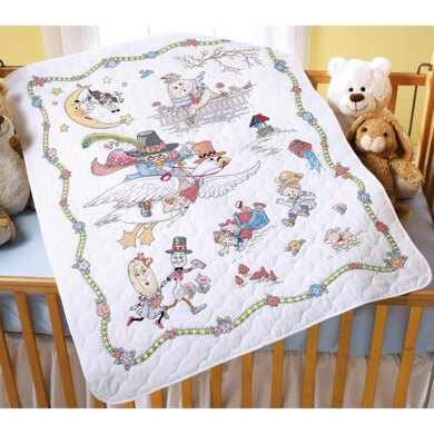 BucillaMother Goose Stamped Cross Stitch Crib Cover Kit - 34in x 43in