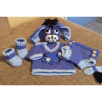'Donkey' Jumper, Hat, nappy cover, Booties
