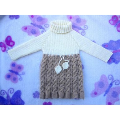 Seamless and Reversible Cables Baby Dress