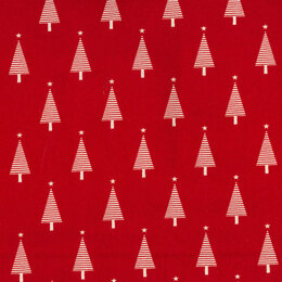 Oddies Textiles Louden Christmas Fabrics - Christmas Trees Red Base - JLX0085Natural on Red