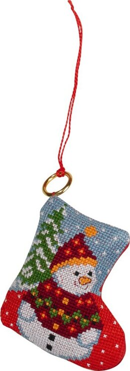 Permin Fir & Snowman Ornament Cross Stitch Kit - 7cm x 8cm