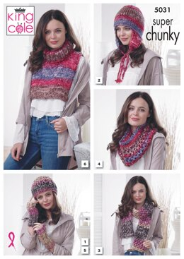 Hat, Helmet, Scarf, Snood, Wrist Warmers & Polo Insert in King Cole Big Value Super Chunky Tints - 5031 - Downloadable PDF