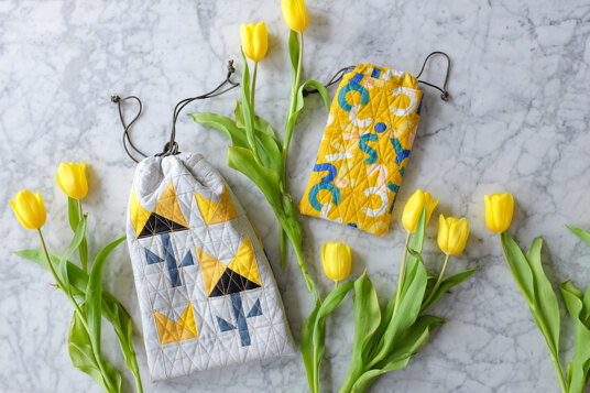 Quilted floral treat bags tutorial
