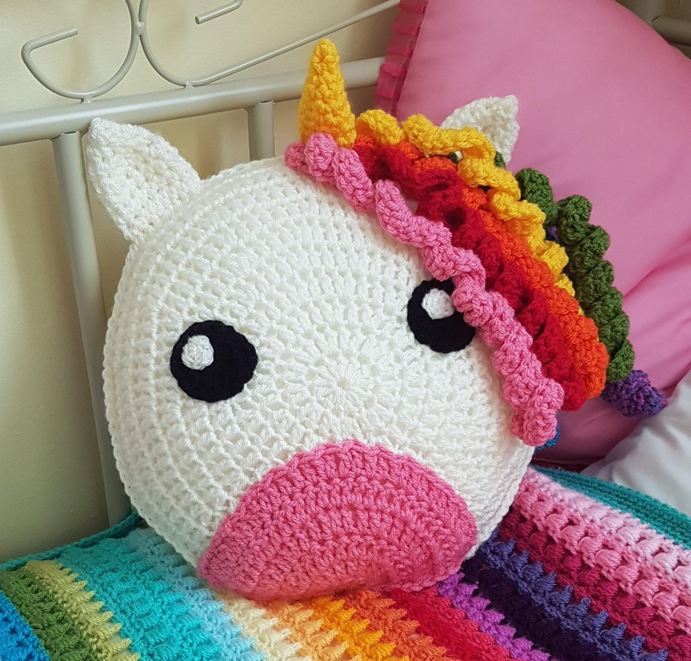 Crochet Unicorn Cushion Crochet Pattern By Tangle Tree