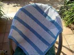 Baby Blanket White and Blue Rows