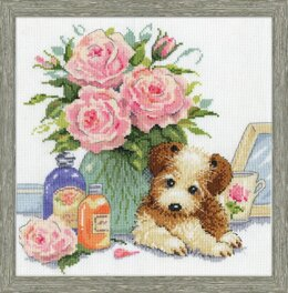 Design Works Puppy with Roses Cross Stitch Kit - 25cm x 25cm