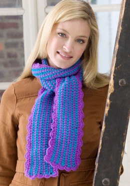 Scalloped Edge Scarf in Red Heart Shimmer Solids - LW2686