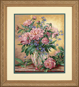 Dimensions Peonies and Canterbury Bells Cross Stitch Kit - 30cm x 36cm